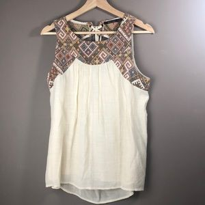 Doe & Rae Embroidered Criss Cross Tie in Back Top